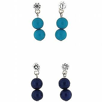 925 Silver Crystal Turquoise & Lapis Ball Drop Earrings - Gift Set - Pack of 2