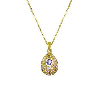 Eternal Collection Bliss Purple Tanzanite Austrian Crystal Gold Tone Pendant Necklace