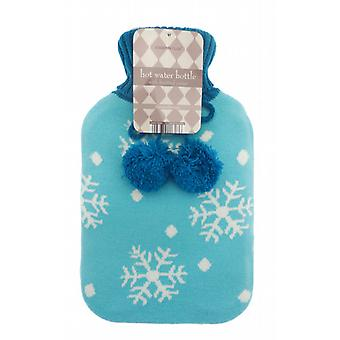 Jacquard Knit Pom Pom 2L Hot Water Bottle: Blue Snowflakes