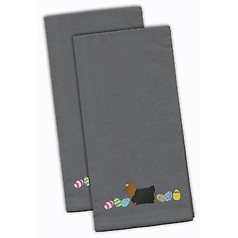 Yorkie Yorkshire Terrier Easter Gray Embroidered Kitchen Towel Set of 2