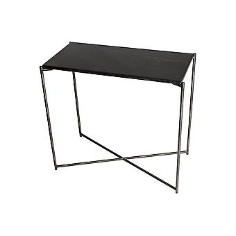Gillmore Space Black Marble Small Console Table With Gun Metal Cross Base