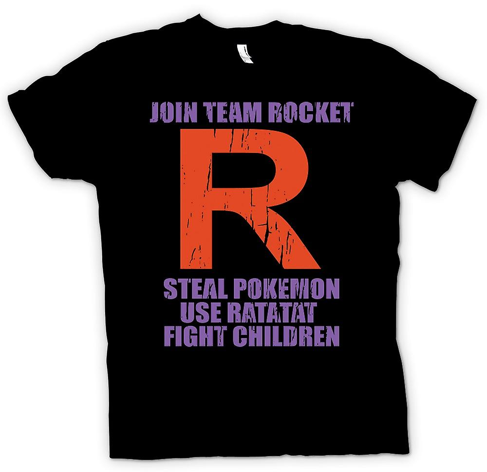 Mens T-shirt - Join Team Rocket - Steal Pokemon - Use Ratatat - Attack Children