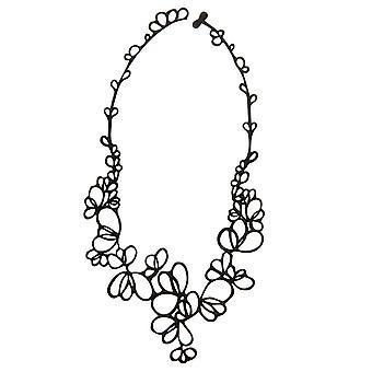 Batucada Haut Schmuck schwarze Blütenblätter Halskette 4-01-01-03-SCHWARZ