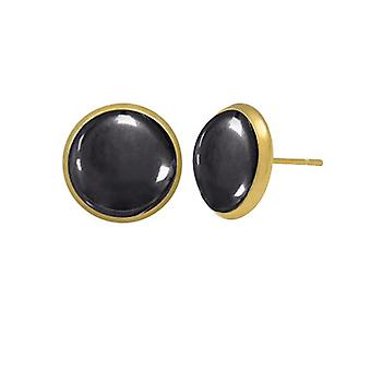Eternal Collection Symphony Hematite Gold Pierced Stud Earrings