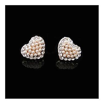 18K Gold Plated Heart Simulated Pearl Earrings