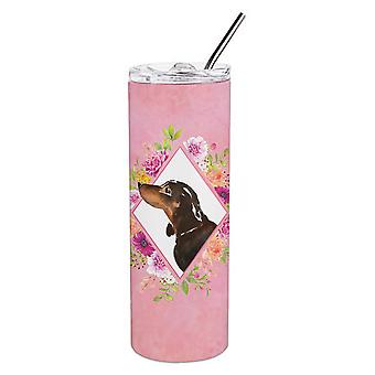 Black and Tan Dachshund Pink Flowers Double Walled Stainless Steel 20 oz Skinny