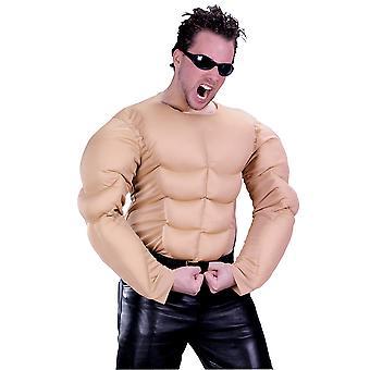Bodybuilder Rambo stark man mens kostym Naken muskel bröst skjorta plus