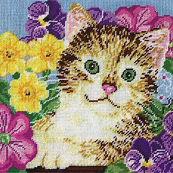 Cat In Flowers Needlepoint Kit 10