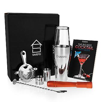 Savisto Premium 8 Piece Boston Cocktail Shaker and Recipe Book