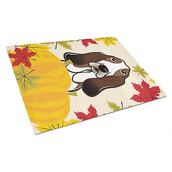 Basset Hound Thanksgiving Glass Cutting Board Large BB2049LCB