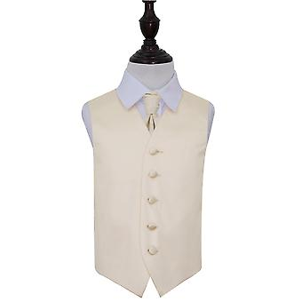 Boy's Champagne Plain Satin Wedding Waistcoat & Cravat Set