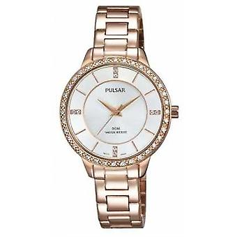 Pulsar Womens Rose Gold Tone Stainless Steel Silver Dial PH8220X1 Watch