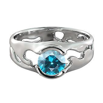 Topacio azul 1,00 CT anillo 14K oro blanco solitario único diseñador