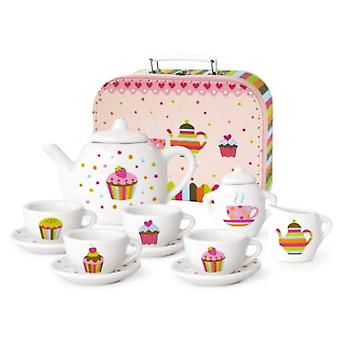 Theeset porselein in koffer cupcake36379
