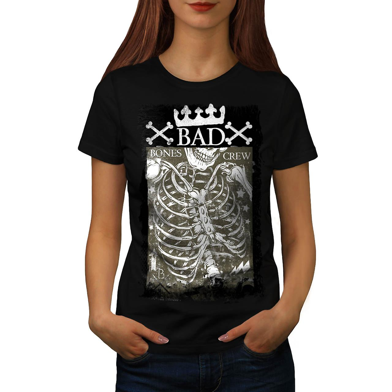 Bad Bones equipaggio corona Skeleton donne t-shirt nero | Wellcoda