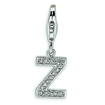 Sterling Silver CZ Letter Z With Lobster Clasp Charm - Measures 24x8mm