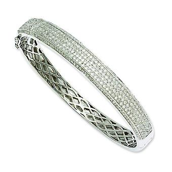 Sterling Silver and CZ Brilliant Embers Hinged Bangle Bracelet