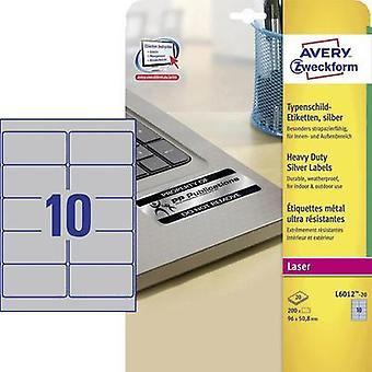 Avery-Zweckform L6012-20 Labels (A4) 96 x 50.8 mm Polyester film Silver 200 pc(s) Permanent Nameplates Laser, Copier