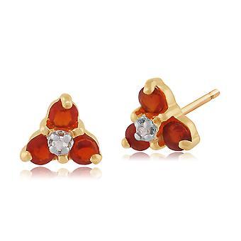 Gemondo 9ct Gelb Gold 0,15 ct Feueropal & 1pt Diamond Cluster Ohrstecker