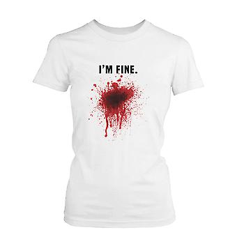 I Am Fine Bloody Women's White Tee Funny Halloween T-Shirt Graphic Cotton Tee Funny Shirt