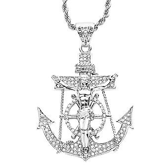 Iced out bling hip hop chain - JESUS anchor silver