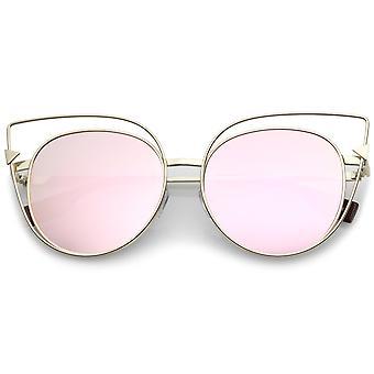 Tamanho grande recorte Metal Frame seta acento rosa espelho lente plana Cat Eye Sunglasses 57mm