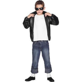 T-Bird Jacket Grease Costume Black Kids 10-12 Years Kids Costume T Bird