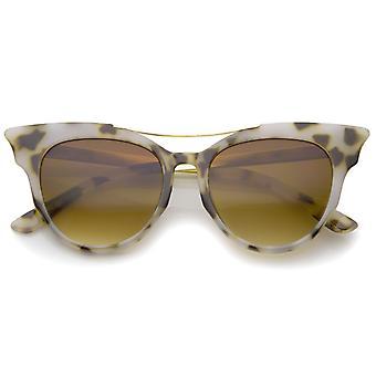 Women's Fashion Metal Temple Crossbar Bold Cat Eye Sunglasses 51mm