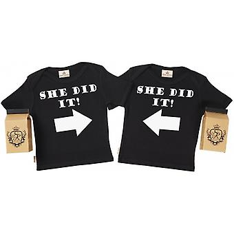 Spoilt Rotten She Did It She Did It Baby T-Shirt