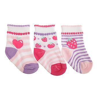 Baby Girls Fruit/Fairy Design Scallop Trim Socks (Pack Of 3)