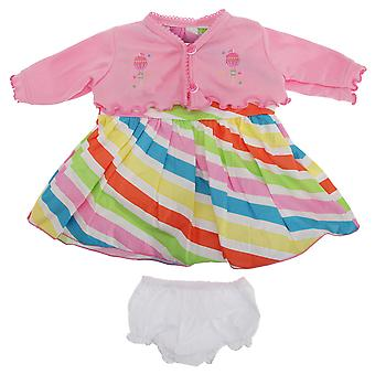 Baby Girls Diagonal Candy Striped Sleeveless Dress With Matching Bolero And Knickers
