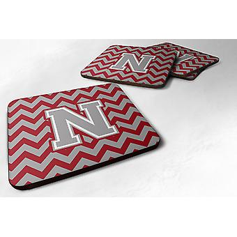 Set of 4 Letter N Chevron Crimson and Grey   Foam Coasters Set of 4