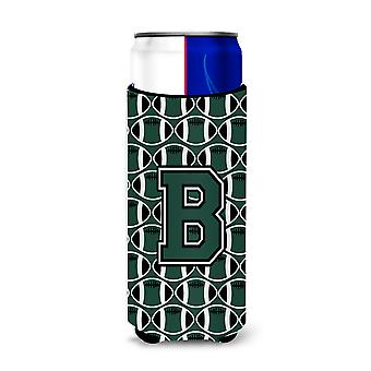 Letter B Football Green and White Ultra Beverage Insulators for slim cans