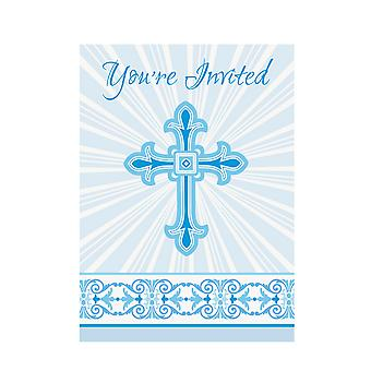 Unique Party Radiant Cross Paper Design Christening Party Invites (Pack Of 8)