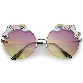 Unicorn Rainbow Semi Rimless Round Sunglasses With Gradient Colored Lens 56mm