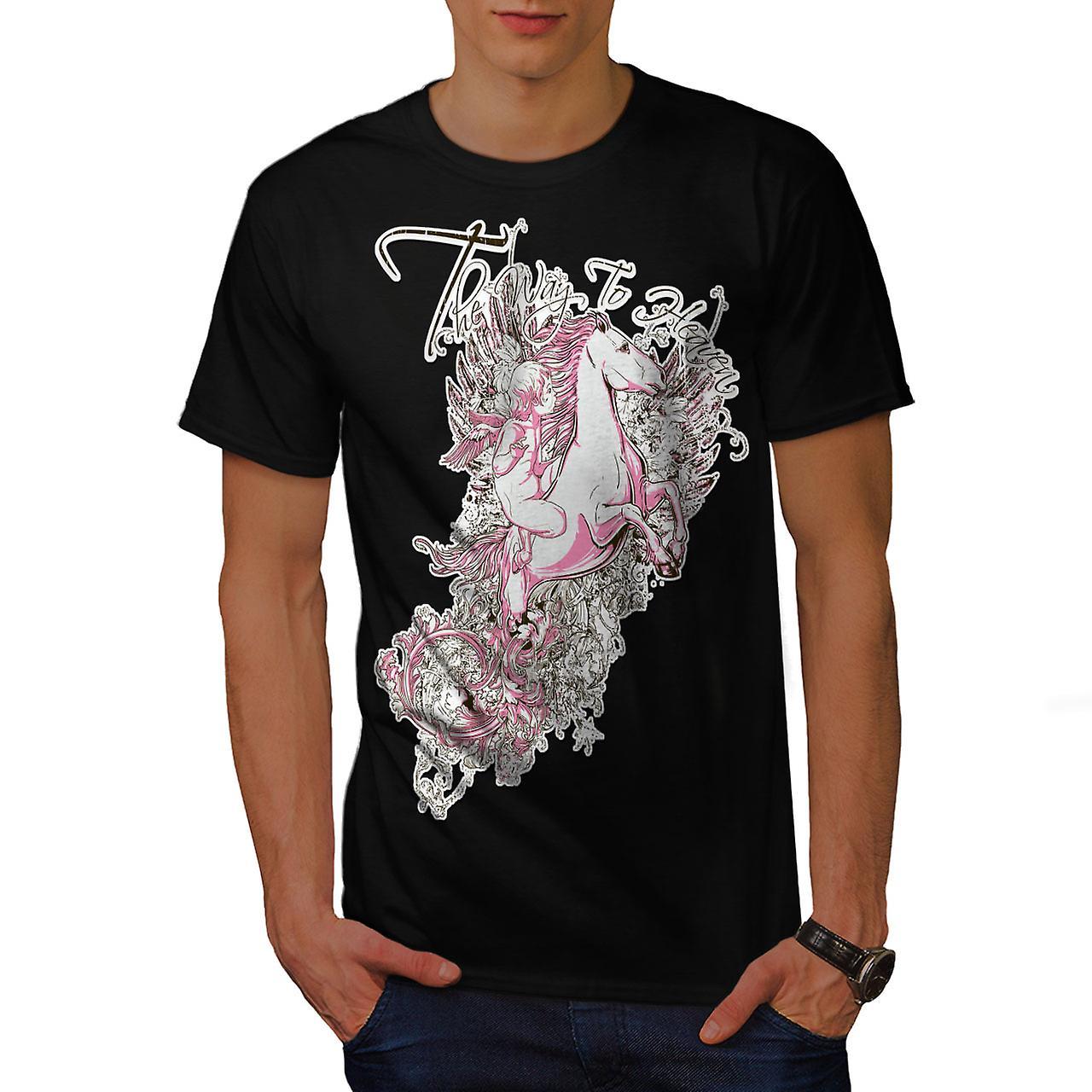 Way To Heaven Fantasy Men Black T-shirt | Wellcoda