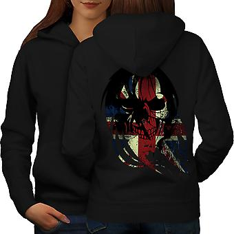 Skull Death Print Flag UK Women BlackHoodie Back | Wellcoda