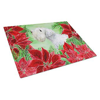 Sealyham Terrier Poinsettas Glass Cutting Board Large