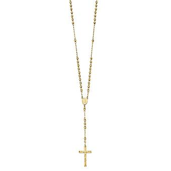 14k Yellow Gold D/C 4mm Beaded Rosary Necklace