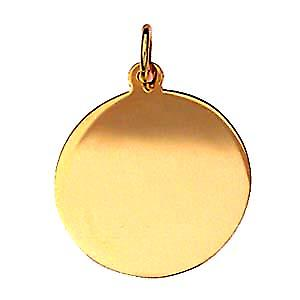 18ct Gold 19mm round plain Disc