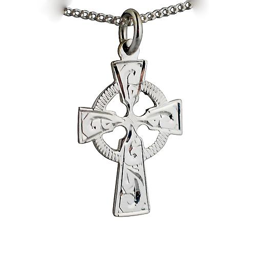 Silver 23x16mm hand engraved knot pattern Celtic Cross with a curb Chain 18 inches