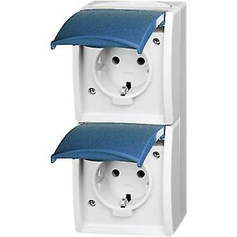 Busch-Jaeger Twin socket Ocean (surface-mount) Blue-green 20-02 EW-53