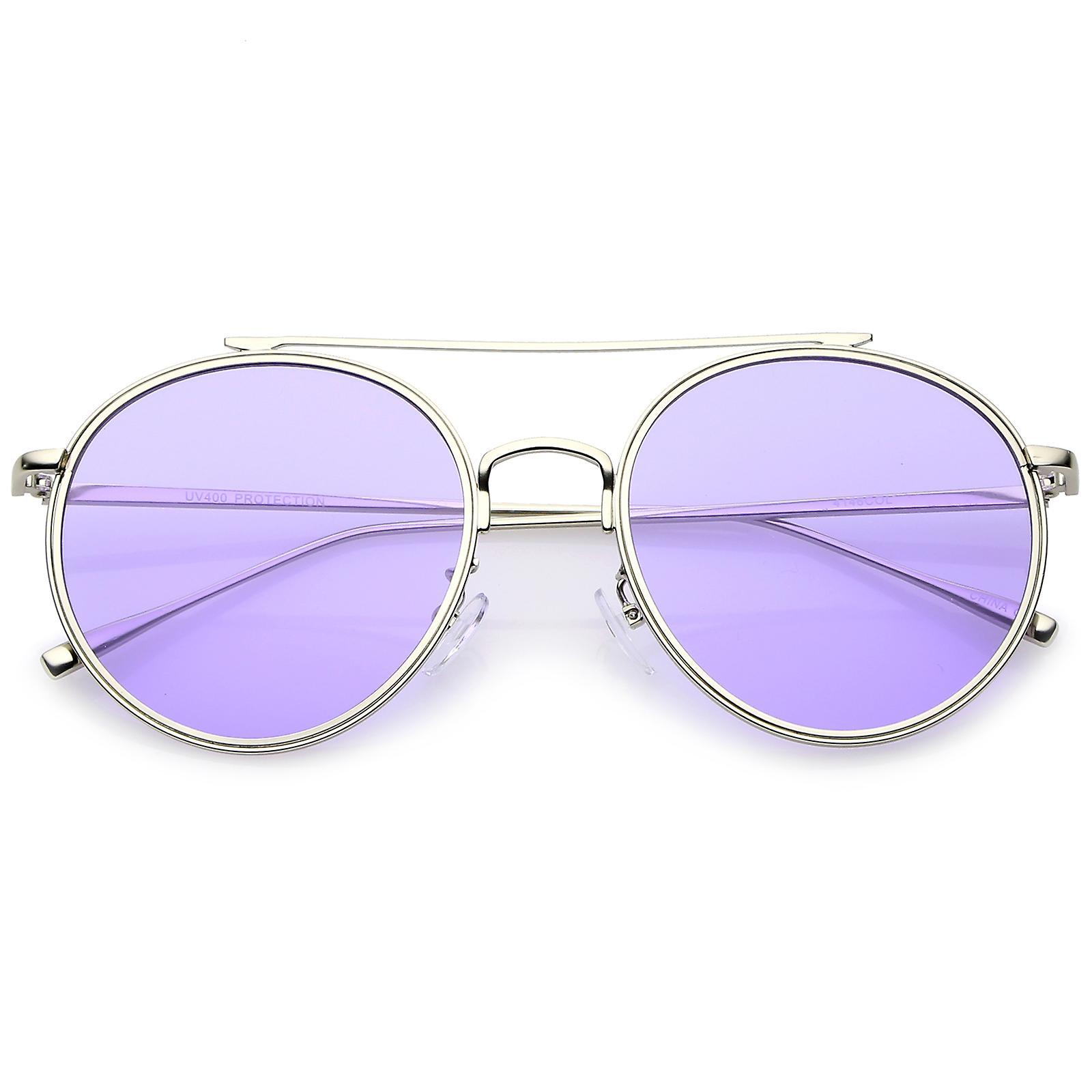 55df4a5b7e2 Modern Metal Crossbar Slim Temple Colored Flat Lens Round Aviator  Sunglasses 54mm