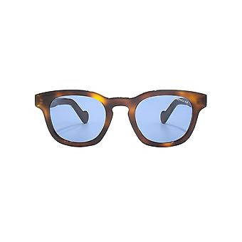 Moncler Square Keyhole Sunglasses In Dark Havana Blue