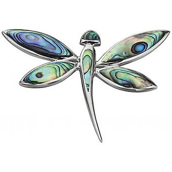 Beginnings Paua Shell Dragonfly Pendant - Multi Colour/Silver