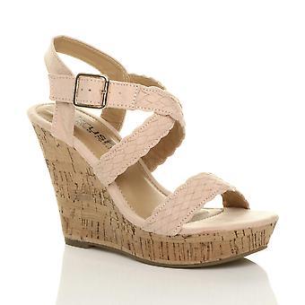 Ajvani womens high wedge heel buckle platform strappy espadrille sandals sze