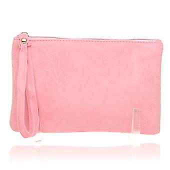CHEEKY Baby Pink Faux Suede Clutch Bag/Purse With Wrist Strap