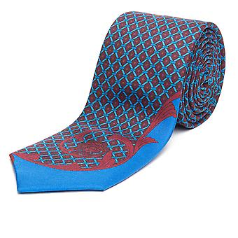 Versace Men's Slim Silk Tie Baroque Medusa Pattern Blue Red