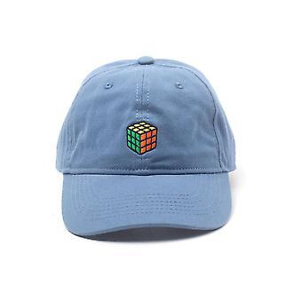 Rubiks Cube Embroidered Logo Stone Washed Denim Dad Cap Blue (BA525306RBK)