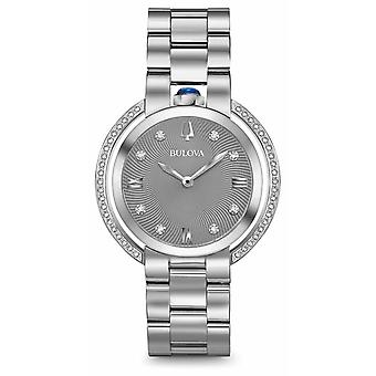 Bulova Womans Rubaiyat Silver Tone Diamond 96R219 Watch
